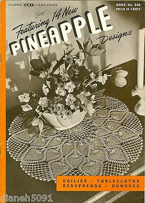 Vintage Doilies Crochet Pattern Book # 230 From 1946 14 Pineapple Designs