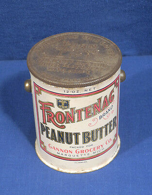 Vtg Frontenac Peanut Butter Pail Tin Mich. Gannon Grocery New Old Stock Unused!