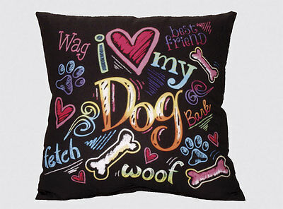 I Love My Dog Pillow – Polyester 12 x 12 Inches