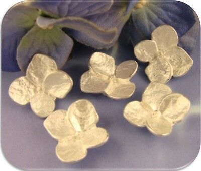 2 Hole Slider Beads ~ WHITE Hydrangea Flowers ~ Brushed Silver Metal ~ QTY 5