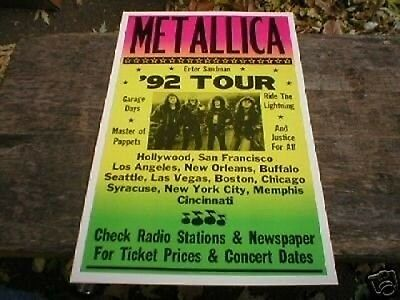 Metallica Concert Poster Heavy Card Stock 14 x 22