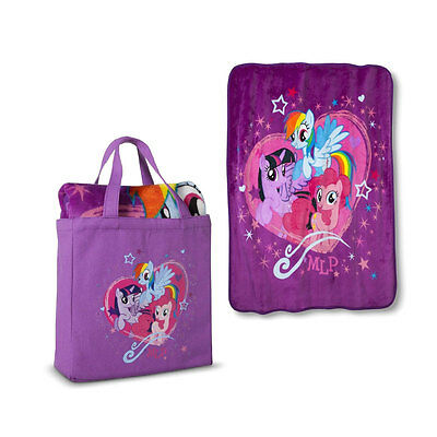 My Little Pony Girl Silk Touch Throw Blanket N Canvas Tote Purse Bag Set Purple