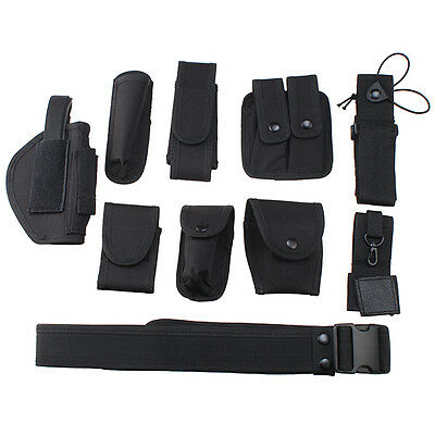 11in1 Set Tactical Police Duty Belt Training Security Guard Utility Kit w/Pouch