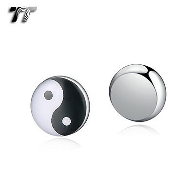 TT 10mm Stainless Steel Ying&Yang Magnet Earrings (BM09) NEW