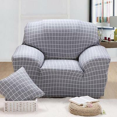 Spandex Textured Couch Single Sofa Seat Case Chair Cover Slipcover-GRY Plaid