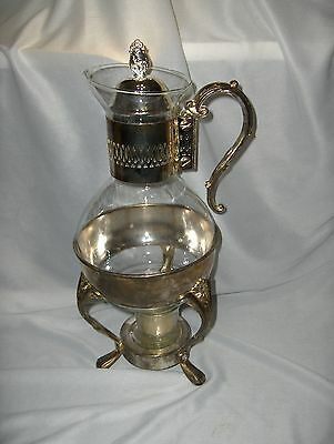 Vintage 4 Pc Silver Plate Glass Carafe Coffee Pot Glass Votive NICE