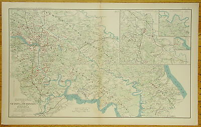 Authentic Civil War Map ~ Richmond Va. And Part Of Peninsula-1864