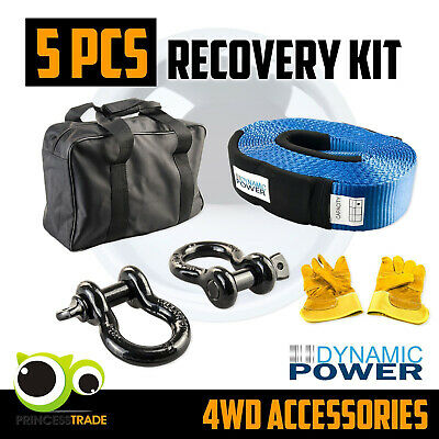 4WD 4X4 Winch Recover Kit 12T Nylon Snatch Strap Bow Shackles Glove Bag 5PCS