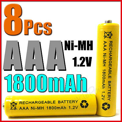 8 pièces AAA 3A 1800mAh Ni-MH Batterie Rechargeable Jaune