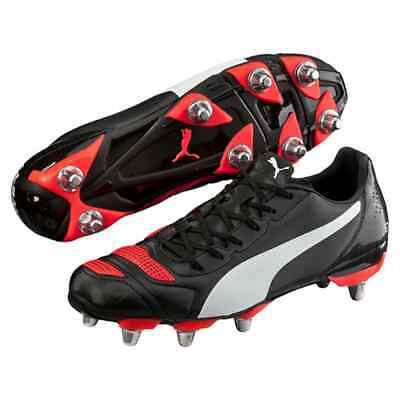 Puma evoPOWER 4.2 H8 SG Black Red Blast Rugby Boots Sizes UK 7, 8, 9