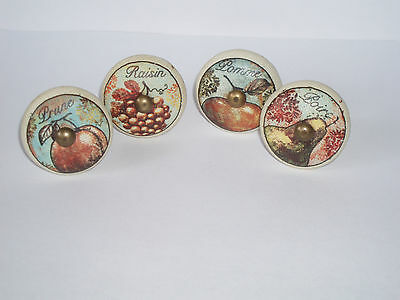 Set of 4 Hand Made Painted Fairtrade Ceramic Vintage French Shabby Chic Knobs