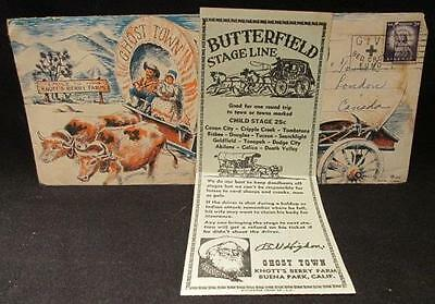 Knott's Berry Farm Covered Wagon Envelope Red Cross Fund 1957 & Stage Ticket