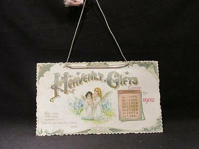 Heavenly Gifts 1902 Calendar No 104 Angels & Poetry Has Cord for Hanging