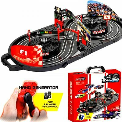 Manual Control Slot Car Racing track Kids Toy Childrens Game In Carry Case Gift
