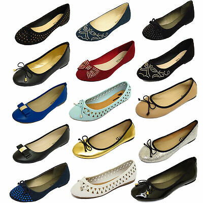 Ladies Flat Slip-On Work School Dolly Comfy Ballet Ballerina Plimsoll Pump Shoes