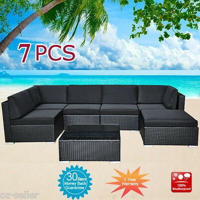 Wicker Rattan Garden Set Indoor Outdoor Sofa Lounge couch Setting Furniture 7Pcs
