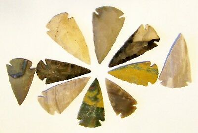"""20 KNAPPED 2"""" to 2 1/2"""" AGATE ARROWHEAD FOR JEWELRY MAKING OR COLLECTING"""