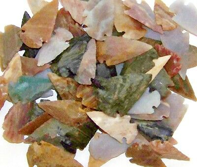 """25 HAND KNAPPED STONE AGATE & JASPER ARROWHEADS FOR CRAFTS  1"""" to 1 1/2"""" SIZE"""