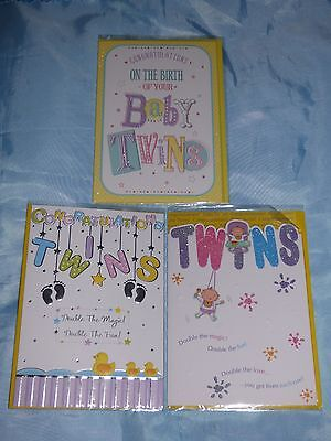 Birth Of Twins Card Boy Girl Unisex New Baby Birth Cute Traditional Newborn Twin