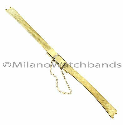 10mm Kreisler Clasp Safety Chain Fitted Ends Gold Tone Stainless Watch Band