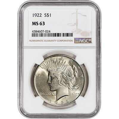 1922 US Peace Silver Dollar $1 - NGC MS63