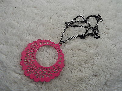 Pink Filigree Pendant Black Chain Necklace (C68)