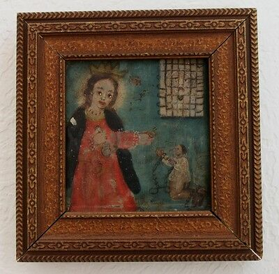Antique MAN PRAYS GET OUT OF JAIL CHRIST IN WINDOW Tin Painting Retablo Mexico