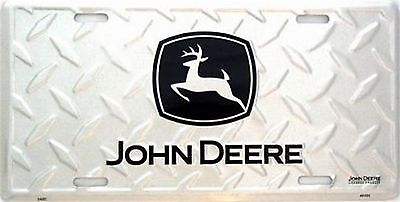 John Deere Diamond Pattern Embossed Metal License Plate Auto Tag Sign