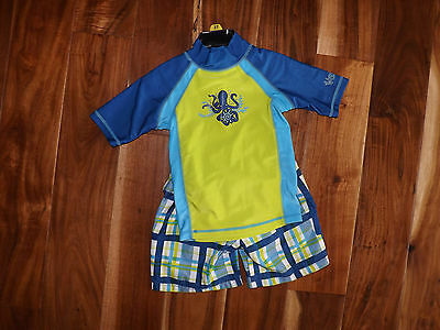 NEW Boys UV SKINZ Sunwear Swimwear UPF 50+ Shirt/Short Green Blue 3 Piece Sz 3T
