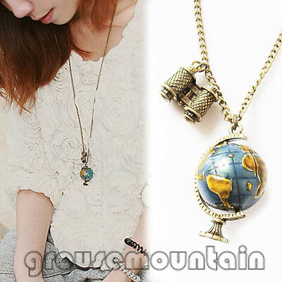 Vintage Globe Necklace Planet Earth World Map Art Pendant & Chain GRO