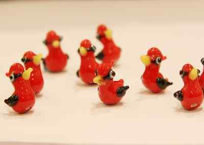 6 Pieces Limited Edition Lampwork Glass Beads - Bird 18x18mm (45Z-1)