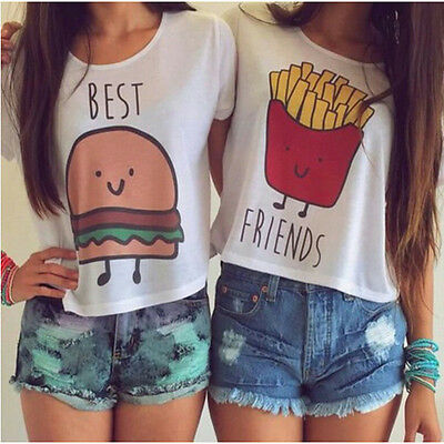 Ladies Girl French Fries Hamburger Best Friends T-Shirts Blouse Vest Tees Tops