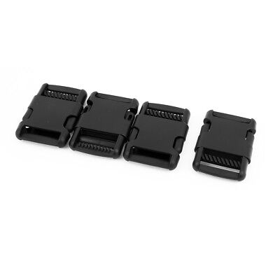 4pcs Black Plastic Luggage Clasp Side Quick Release Buckles Clip for 32mm Band