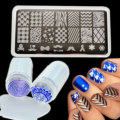 3Pcs BORN PRETTY Nail Art Stamping Plates Image Templstes Scraper & Stamper Lot