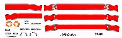 1969 DODGE Charger 500 - R/T - Super Bee Red 1/64th HO Slot Car Decals