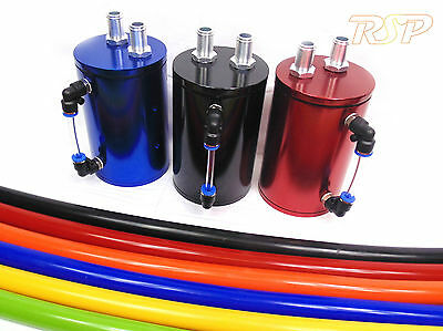Black or Blue or Red Universal Alloy Oil Catch Tank Can Kit Fast UK Delivery