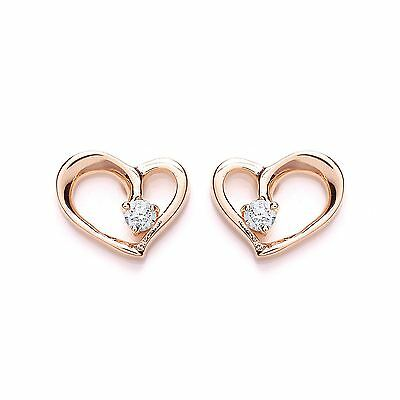 Purity Rose Gold Plated Sterling Silver Love Heart Stone Set Earrings 1449ES