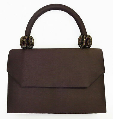 NEW Brown Ladies Satin Handbag Purse Evening Bag Wedding Formal Bridal #6220
