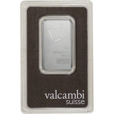 1 oz. Palladium Bar - Valcambi Suisse - 999.5 Fine in Assay
