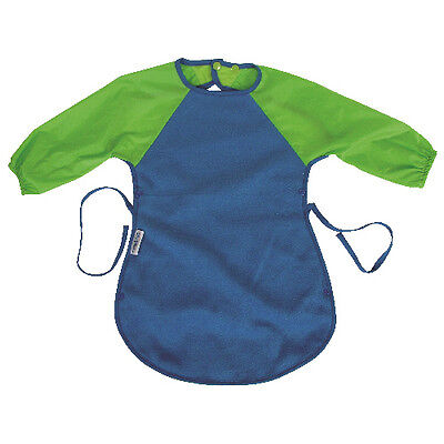 Silly Billyz Baby Bib/Apron - Sleeves - Extra Large for Messy Eater - Blue/Lime