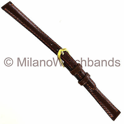 10mm deBeer Havana Handcrafted Smooth Leather Padded Stitched Ladies Watch Band