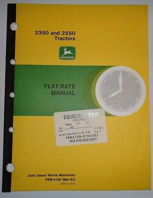 John deere 7520 tractor flat rate manual frm 126 376 1649 john deere 2350 2550 tractor flat rate repair time manual frm 4108 jd fandeluxe Image collections