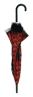 Red And Black Lace Umbrella Mary Poppins Themed Umbrella Fancy Costume Accessory