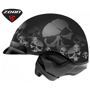 New Zoan Black Ghost Skull Motorcycle Half Helmet Retractable Sun Visor Route 66