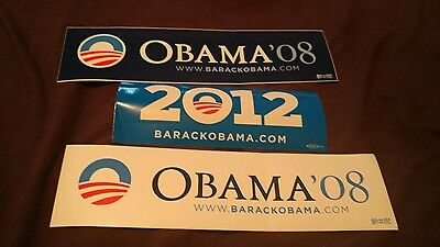 3 Barack Obama Official 2008 2012 President Campaign Bumper Sticker Lot of 3