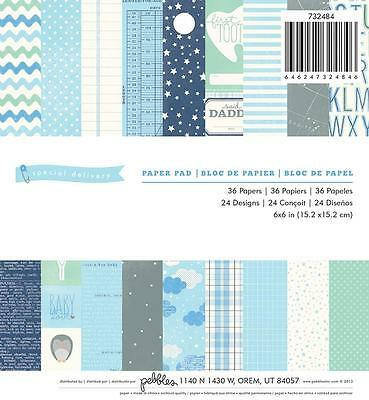 "Pebbles ""Special Delivery BLUE"" Baby BOY 6x6 Paper Pad Scrapbook Pocket Page 36p"