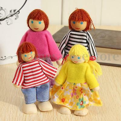 4pcs Cute Wooden People Happy Family Dolls Miniature Set For Kids Children Toy
