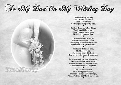 A4 POEM FATHER of The Bride - Daddys Girl - To My Dad on My Wedding Day