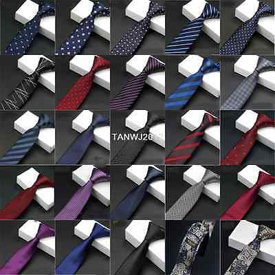 25 Colors 5.5CM Mens Tie Skinny Slim Jacquard Silk Ties Necktie Tuexdo Out Ties