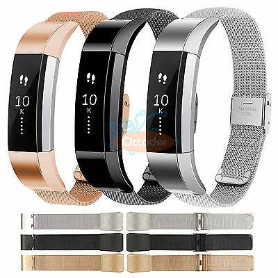 Milanese Stainless Steel Mesh Loop Band Bracelet Strap w/ Clasp For Fitbit Alta